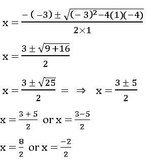 ICSE X maths Quadratic Formula example
